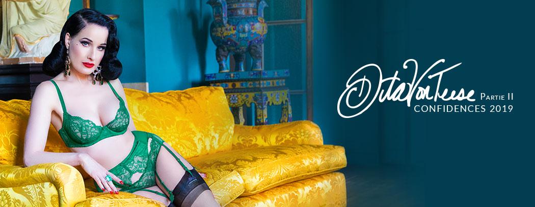 Confessions intimes de Dita Von Teese à Glamuse.com sur la lingerie